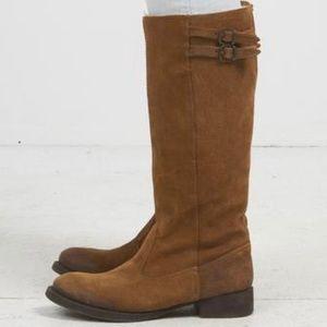 ZARA cognac leather suede zip up boots